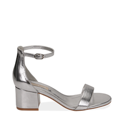 Sandali argento in eco-pelle laminata, tacco 5,50 cm, Scarpe, 152707031LMARGE035, 001a