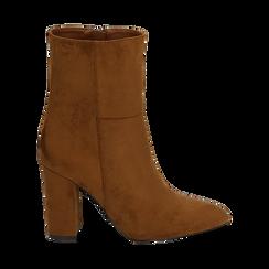 Ankle boots cuoio in microfibra, tacco 9,50 cm , Primadonna, 163026508MFCUOI037, 001 preview