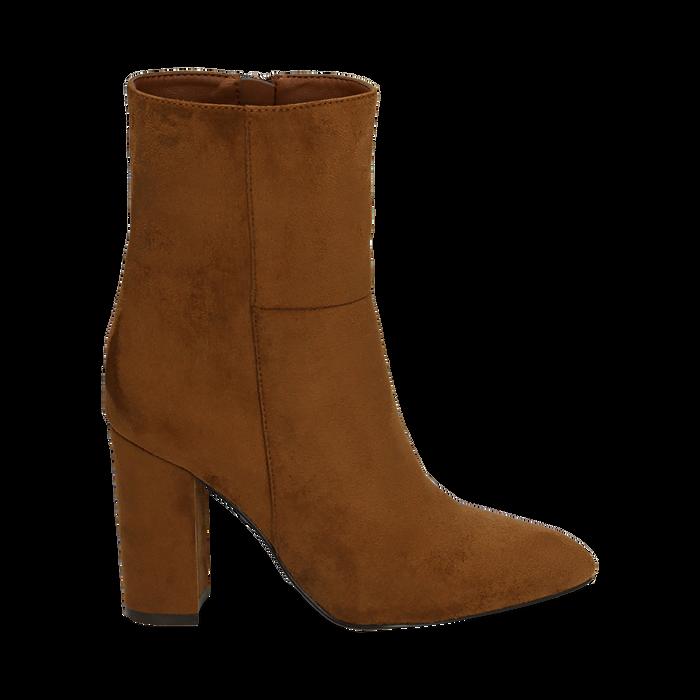 Ankle boots cuoio in microfibra, tacco 9,50 cm , Primadonna, 163026508MFCUOI037
