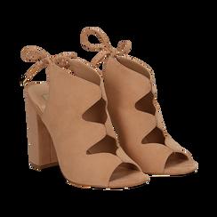 Sandali nude in microfibra con allacciatura alla caviglia, tacco 10,5 cm, Scarpe, 132760824MFNUDE036, 002 preview