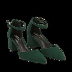 Décolleté verdi in microfibra con cinturino, tacco 6 cm , Scarpe, 144942231MFVERD035, 002a