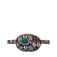 Riñonera en eco-piel con estampado de serpiente color negro/azul, Bolsos, 155100843PTNEBLUNI, 001a