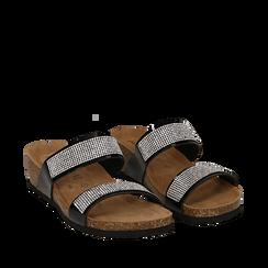 Sandali platform neri in vernice, con strass, zeppa in sughero 5 cm , Scarpe, 117811048VENERO036, 002a