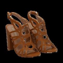 Sandali cage cuoio in eco-pelle, tacco 10,50 cm, Sandali con tacco, 132760843EPCUOI041, 002a