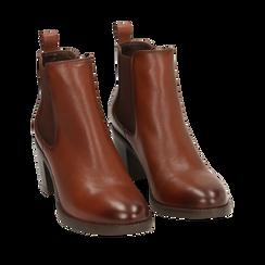Ankle boots cuoio in pelle, tacco 4,50 cm, Primadonna, 169495750PECUOI037, 002a