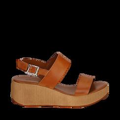 Sandali platform cuoio in eco-pelle, zeppa 5 cm , Saldi Estivi, 13C700258EPCUOI035, 001a