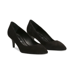 Décolleté nere Kitten heels in vero camoscio, tacco 3 cm, Primadonna, 12D617210CMNERO037, 002 preview
