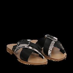 Mules nere in vera pelle con dettagli snake skin, Saldi Estivi, 133500088PENERO035, 002a