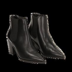 Camperos a punta neri in eco-pelle, tacco 7 cm , Scarpe, 141785496EPNERO036, 002a