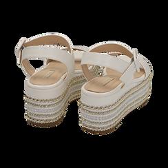 Sandali bianchi in eco-pelle, zeppa 7 cm , Primadonna, 154932211EPBIAN035, 004 preview