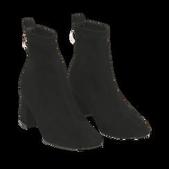 Ankle boots neri in microfibra, tacco trapezio 6 cm , Stivaletti, 142707121MFNERO035, 002a