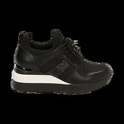 Sneakers nere in tessuto tecnico, zeppa 6 cm , Primadonna, 162801723TSNERO036, 001 preview