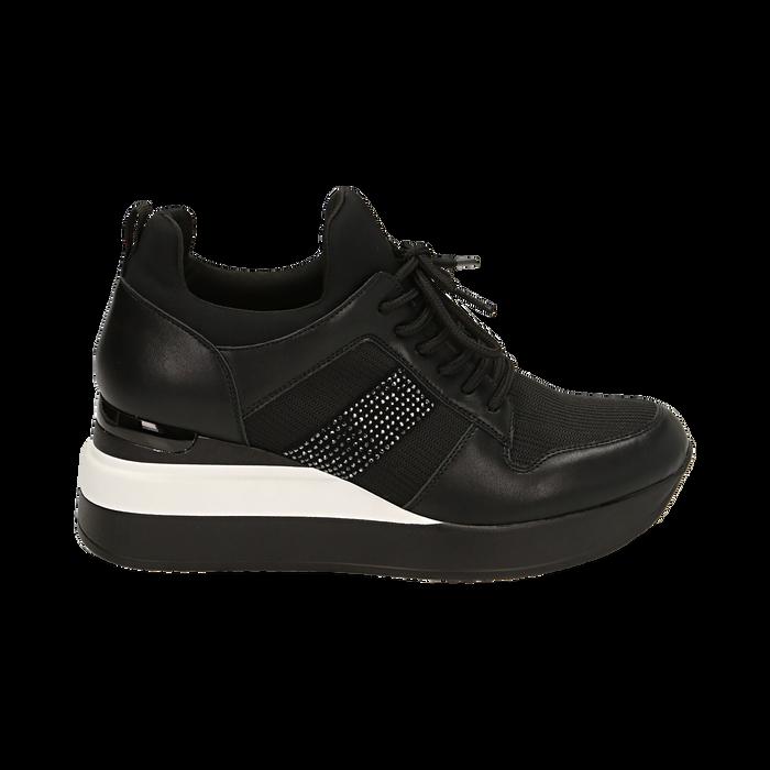 Sneakers nere in tessuto tecnico, zeppa 6 cm , Primadonna, 162801723TSNERO036