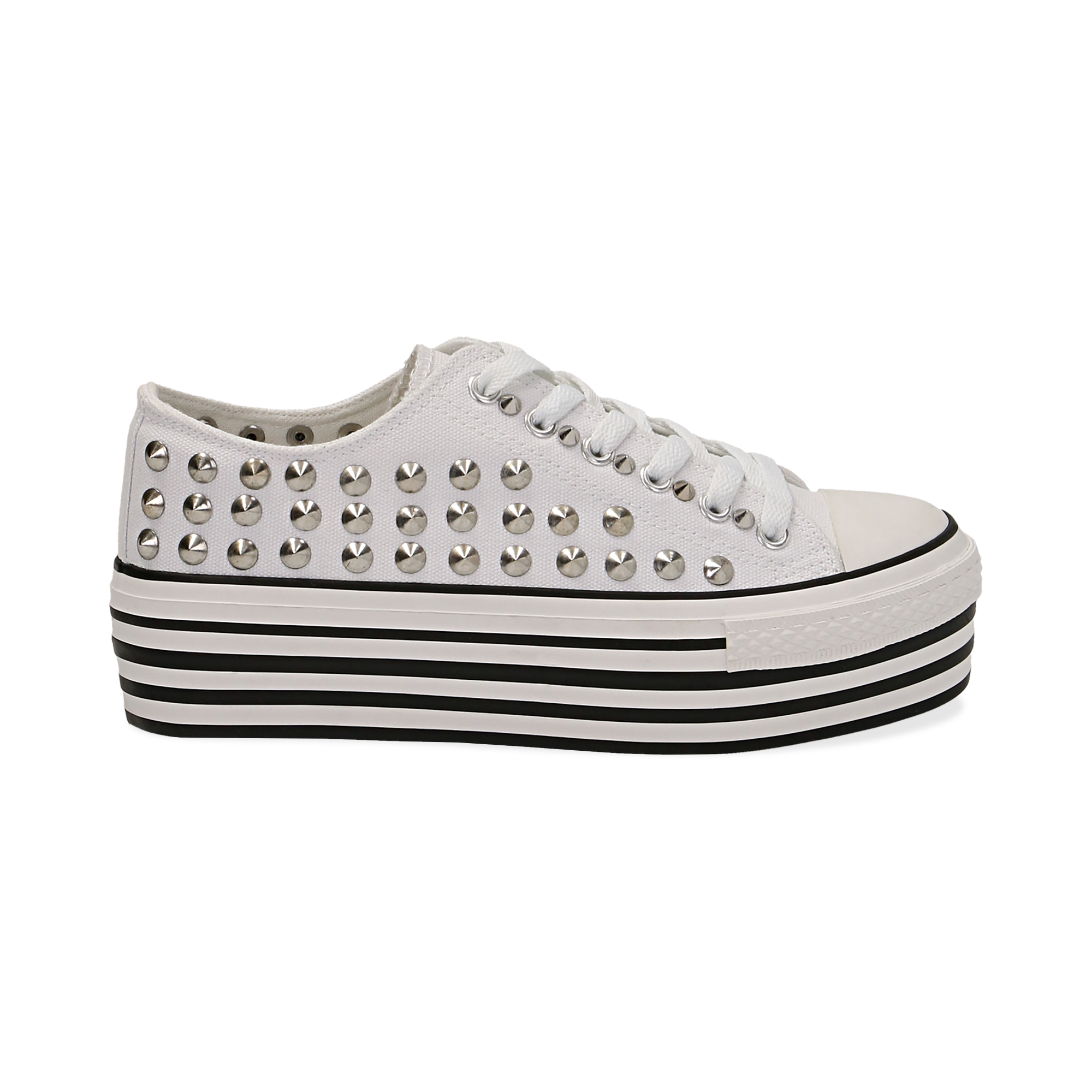 Sneakers bianche in canvas con borchie, platform 4 cm, Scarpe,  132619223CABIAN037, 001