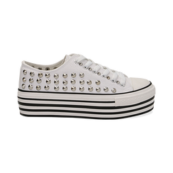 Sneakers bianche in canvas con borchie, platform 4 cm, Scarpe, 132619223CABIAN036, 001 preview