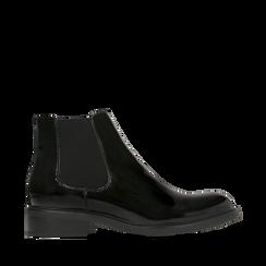 Chelsea boots neri in vernice, Stivaletti, 140618208VENERO035, 001a
