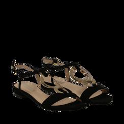 Sandali neri in microfibra con dettaglio gold, Primadonna, 139640157MFNERO035, 002a
