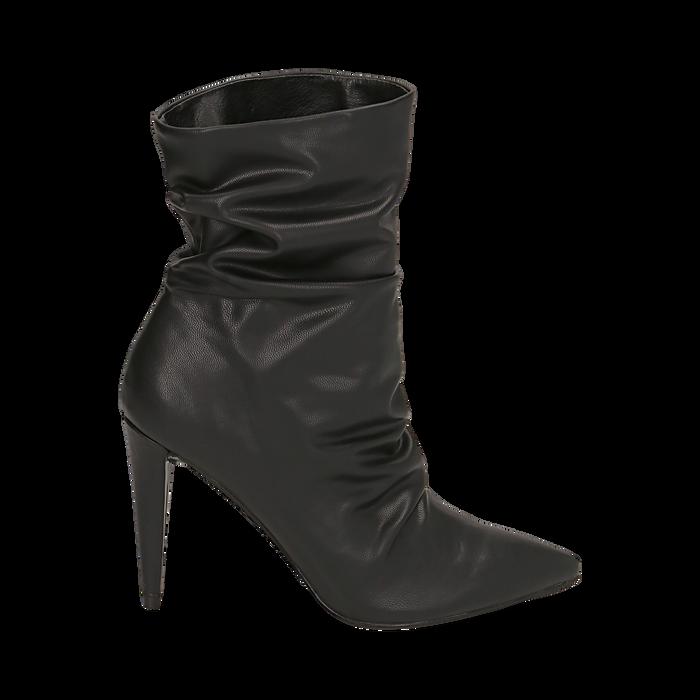Ankle boots drappeggiati neri in eco-pelle, tacco 10 cm , Stivaletti, 142152925EPNERO036