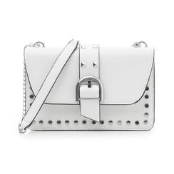 Borsa piccola bianca in eco-pelle con borchie, Borse, 132300503EPBIANUNI, 001 preview