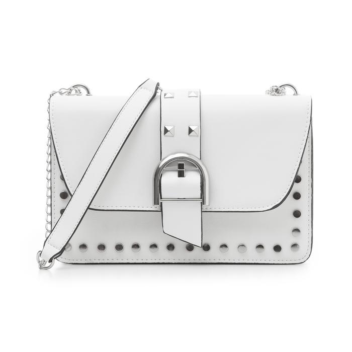 Borsa piccola bianca in eco-pelle con borchie, Borse, 132300503EPBIANUNI
