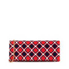 Pochette en satén con estampado óptico color rojo, Bolsos, 155122715RSROSSUNI, 001a