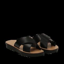 Mules nere in vera pelle , Saldi Estivi, 133500591PENERO035, 002a