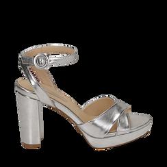 Sandali argento in eco-pelle laminata, tacco 9,5 cm, Scarpe, 152118585LMARGE035, 001a