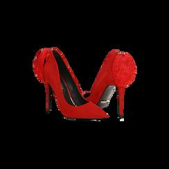 Décolleté rosse con pon-pon, tacco stiletto 11,5 cm, Primadonna, 122100530MFROSS036, 005 preview