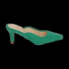 Mules verdi in microfibra, tacco 7,50 cm , Scarpe, 152133675MFVERD038, 001 preview