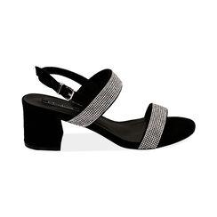 Sandali neri in microfibra con strass, tacco 6,5 cm, Primadonna, 152909505MPNERO035, 001 preview