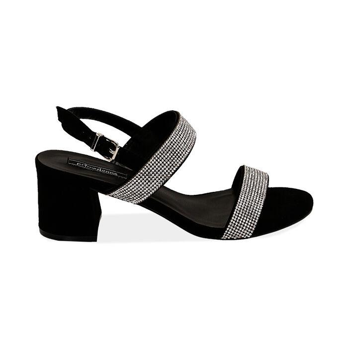 Sandali neri in microfibra con strass, tacco 6,5 cm, Primadonna, 152909505MPNERO035