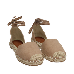 Espadrillas lace-up beige in microfibra, Chaussures, 154933051MFBEIG035, 002a