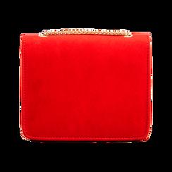 Tracolla rossa in microfibra scamosciata con chiusura gold, Borse, 123308225MFROSSUNI, 002 preview