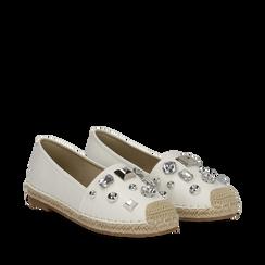 Espadrillas bianche in eco-pelle con gemme, Saldi, 134921159EPBIAN035, 002a