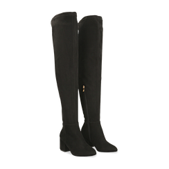 Stivali sopra il ginocchio neri scamosciati, tacco 6 cm, Scarpe, 124911283MFNERO, 002 preview