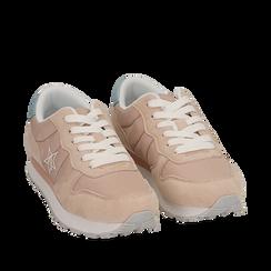 Sneakers rosa in microfibra, Primadonna, 150620011MFROSA036, 002a