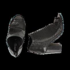 Ankle boots open toe neri in pelle di vitello, tacco 9 cm, Scarpe, 15A217013VINERO036, 003 preview