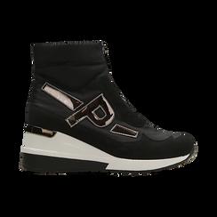 Sneakers a calza nere in tessuto tecnico, zeppa 6 cm , Scarpe, 14A718203TSNERO036, 001 preview