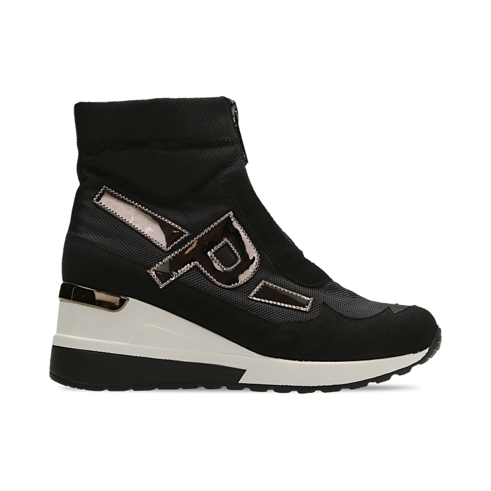 Sneakers a calza nere in tessuto tecnico, zeppa 6 cm , Scarpe, 14A718203TSNERO036