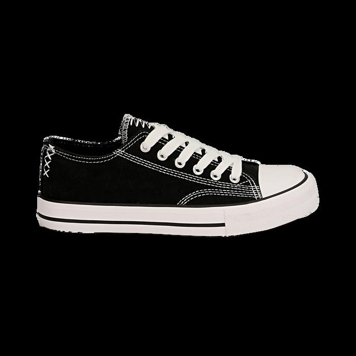 Sneakers nere in canvas, Scarpe, 137300862CANERO035