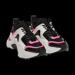 Dad shoes nero/fucsia in tessuto tecnico, zeppa 8 cm ,