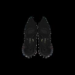 Décolleté nere con pon-pon, tacco stiletto 11,5 cm, Primadonna, 122100530MFNERO, 004 preview