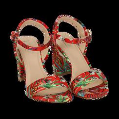 Sandali rossi in raso jungle print, tacco 8 cm, OUTLET, 154900971RSROSS036, 002 preview