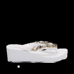 Zeppe platform infradito bianche in pvc con strass, zeppa 5,50 cm, Primadonna, 113903022PVBIAN035, 001a