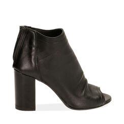 Tronchetti open toe neri in pelle, tacco 9 cm , Primadonna, 17A517014PENERO036, 001a