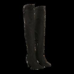 Stivali sopra il ginocchio  neri, tacco a cono 7,5 cm, Primadonna, 124981202MFNERO, 002 preview