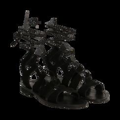 Sandali gladiator nero in camoscio, Scarpe, 138100348CMNERO035, 002a