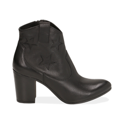 Ankle boots neri in pelle con stelle ricamate, tacco 7,50 cm, Primadonna, 157725907PENERO036, 001 preview