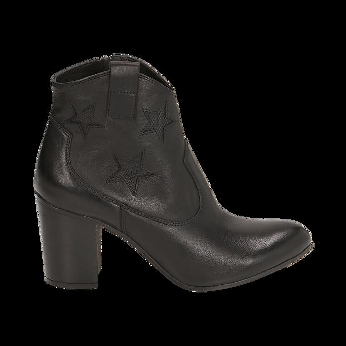 Ankle boots neri in pelle con stelle ricamate, tacco 7,50 cm, Primadonna, 157725907PENERO036
