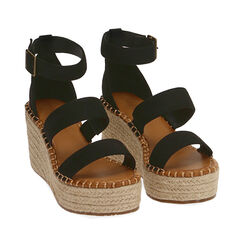 Sandalias negras en microfibra, cuña 9 cm, Primadonna, 174963020MFNERO035, 002a